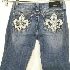 Grace in LA Jeans Embellished Fleur De Lis Pockets